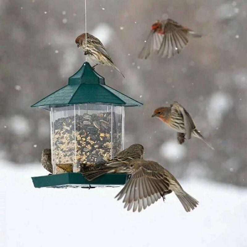Alimentador de pájaros verdes, contenedor de comida colgante de plástico para pájaros, alimentador de aves impermeable para exteriores, suministros para mascotas, decoración de jardín