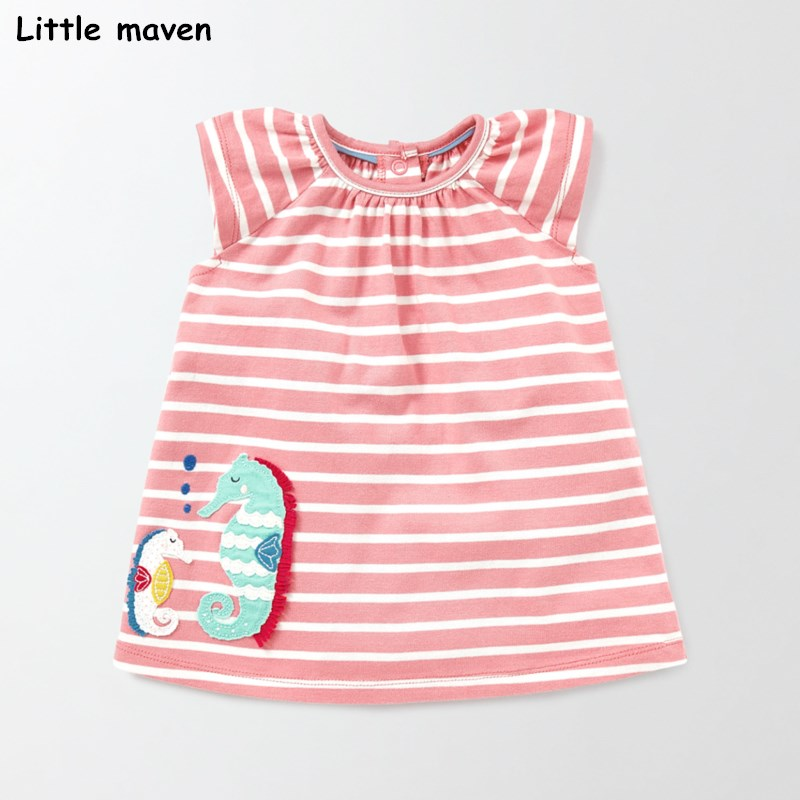 Little maven 2018 nuevo vestido de verano para niñas. Vestidos de manga corta con apliques de caballitos marinos a rayas de algodón para niños S0329