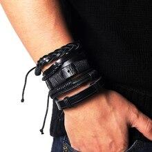 Daxi cor preta punk várias camadas pulseiras de couro genuíno dos homens corda corrente wrap braço pulseira & bangle conjunto jóias masculinas 2019