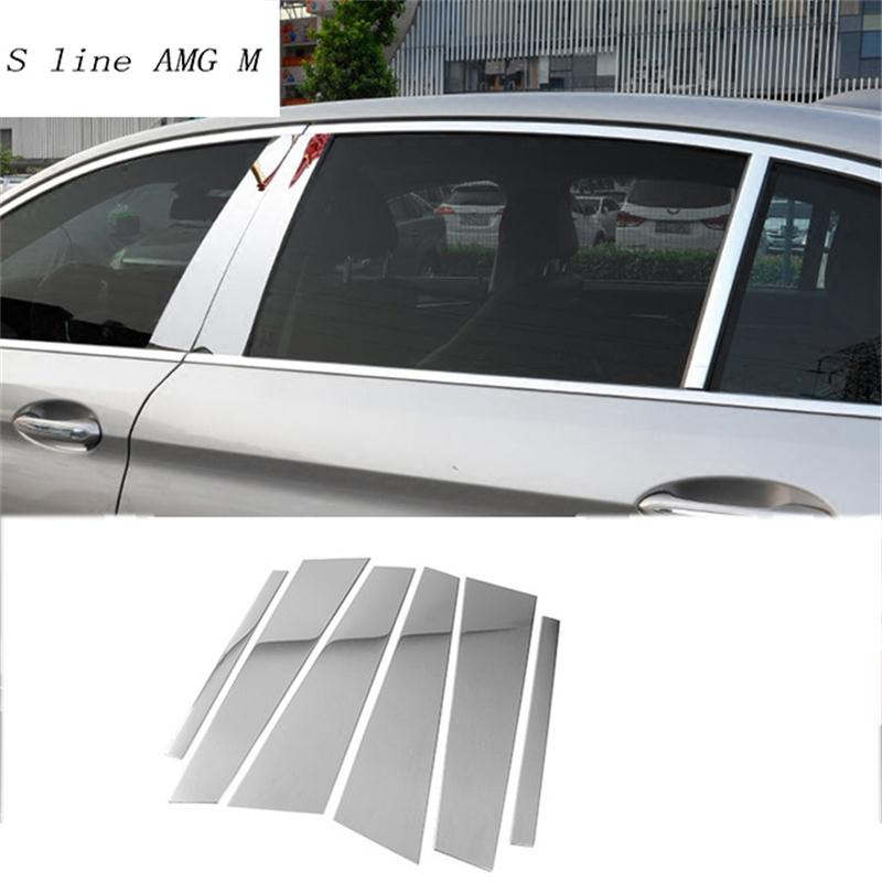 Pegatinas para BMW 5 series 528li 530li g38 G30 de acero inoxidable con diseño de espejo para ventana de coche BC columna de lentejuelas