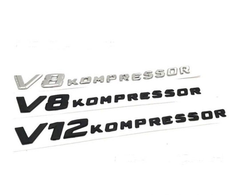 10 piezas coche nuevo estilo ABS negro plata 3D V8 KOMPRESSOR V12 KOMPRESSOR etiqueta adhesivo lado insignia emblema