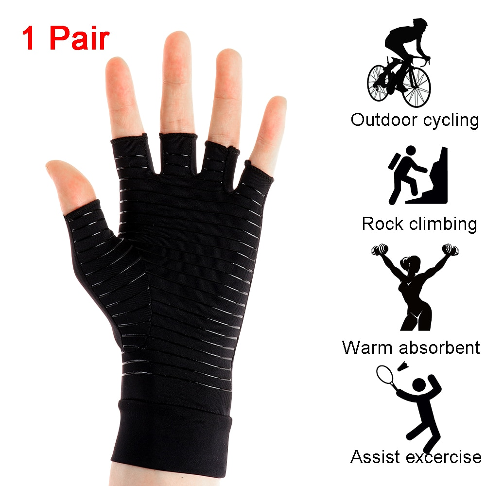 Guantes de compresión con terapia de Metal, muñequera elástica, dedos abiertos, alivio de dolor de articulación de mano y artritis, 1 par