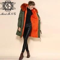 free shipping design long overcoat padded jacket big fur collar outerwear furs coat