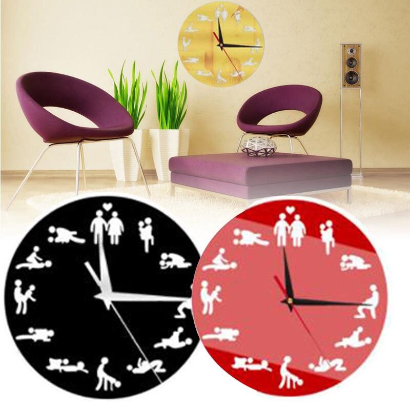 Reloj de pared de postura Sexual divertido moda pareja hogar Decoración regalo