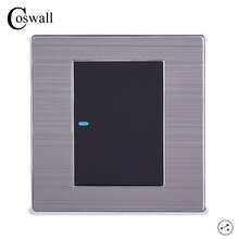 Coswall 1 Gang 2 Way Luxus LED Licht Schalter Auf/Off Wand Schalter Interruptor Gebürstet Silber Panel 10A AC 110 ~ 250V