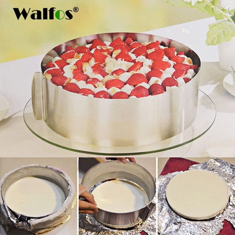 WALFOS food grade Stainless Steel Adjustable cake pan Retractable Circle Mousse Ring Mould Baking Tool Set Cake Mold Bakeware