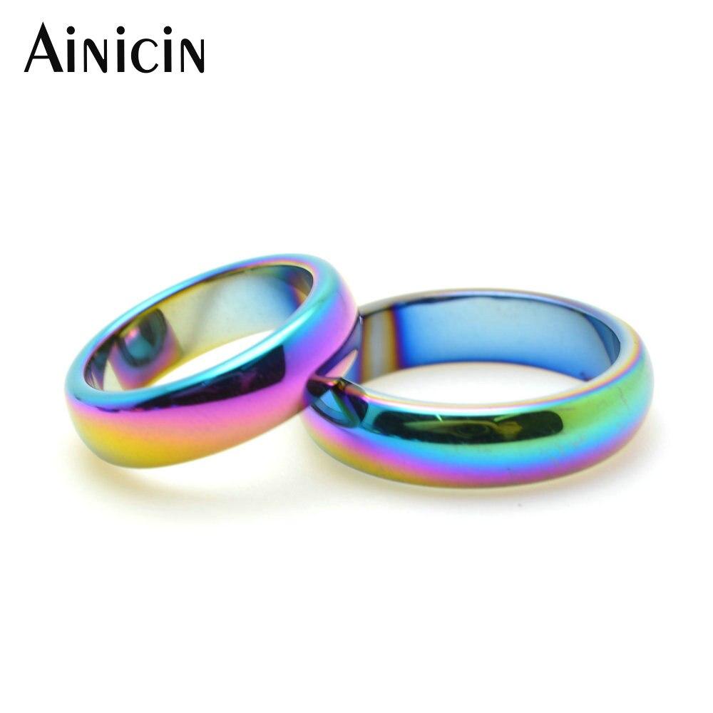 50 pçs arco-íris cor chapeado hematite #6 ring #10 anel para homem e mulher moda festa jóias