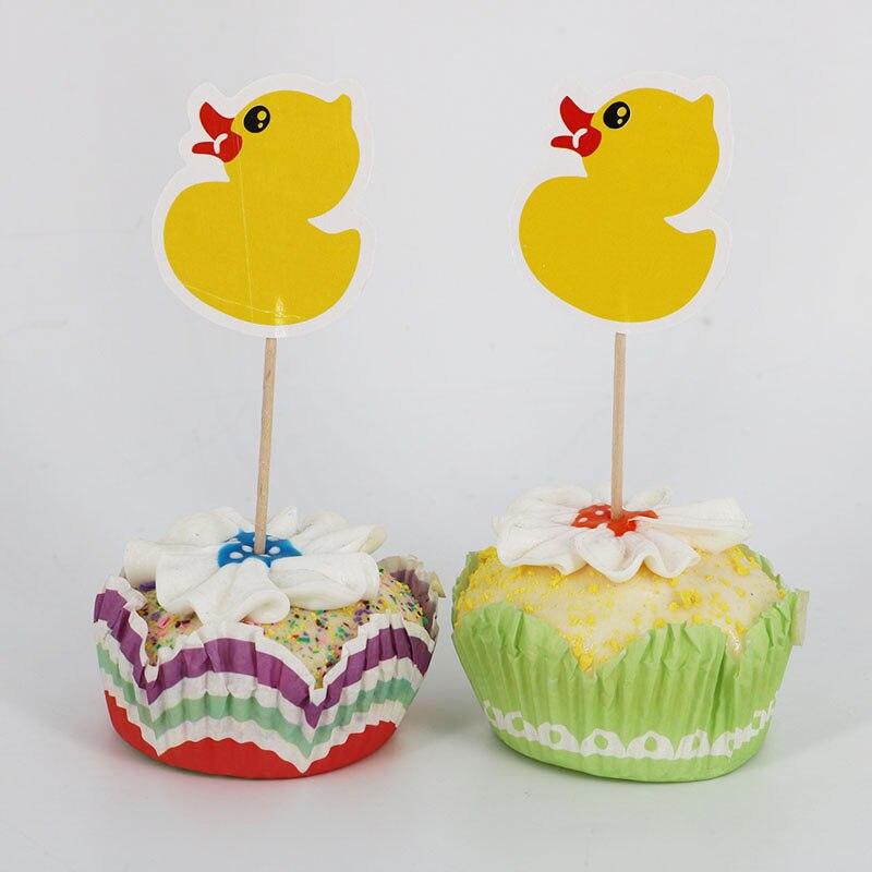 12 unids/lote pato ruibarbo Cupcake Topper banderas para pastel para la familia baby shower cumpleaños adorno para pasteles de fiesta suministros