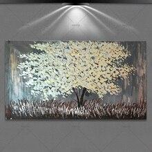 Toile de paysage fait à la main sans cadre   art mural, arbre argent, peintures à lhuile, pour salon, photos murales 100%