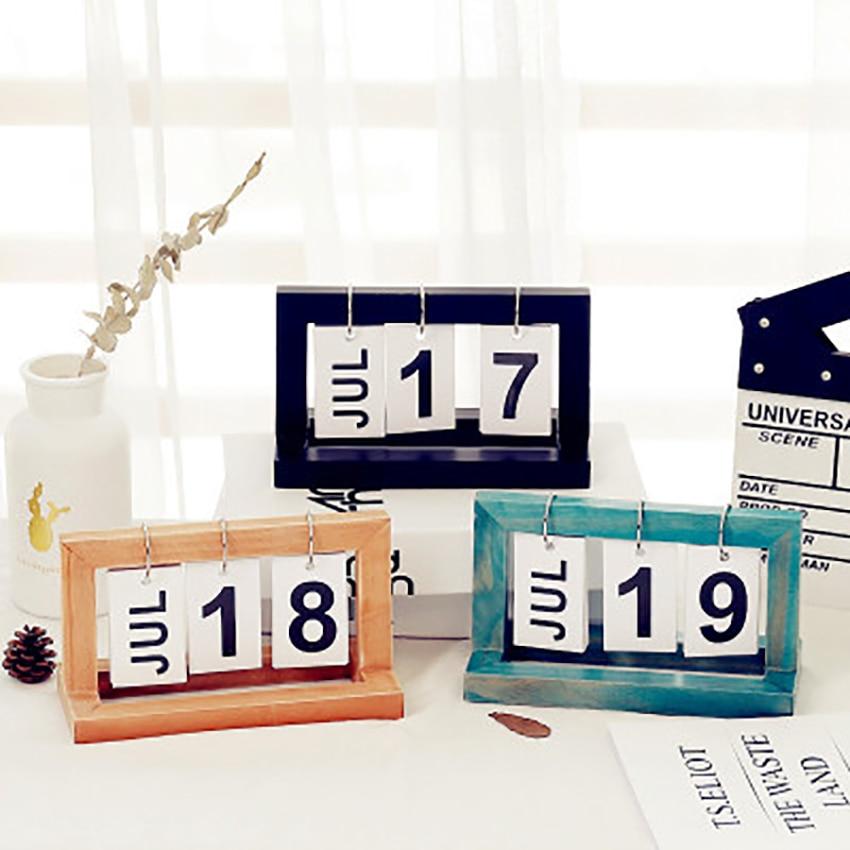 Vintage Wooden Table Calendar Ornaments Office Desktop DIY Flip  DIY Calendar Home/Cafe Shop Decoration Calendar Simple Style diy wooden faith family and friends birthday calendar