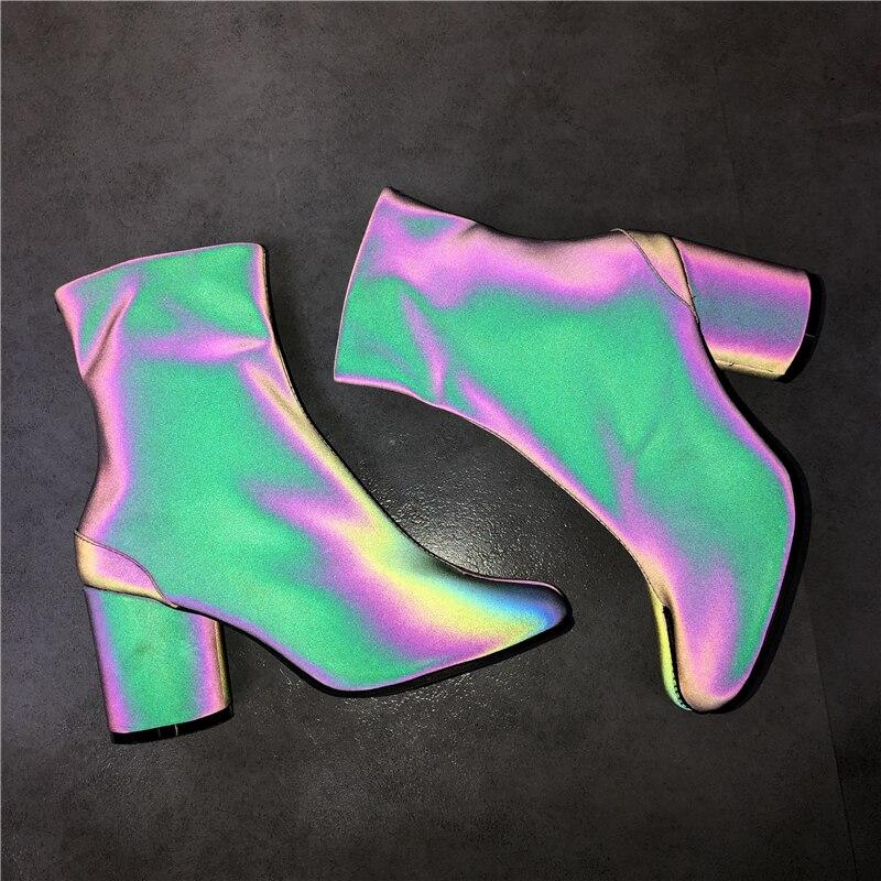 Abesire Neueste Frauen Sexy Pferd Kappe Multi Farbe Chunky Heels Stiefeletten Damen Seite Zipper Kurze Stiefel Mädchen Alle Spiel schuhe