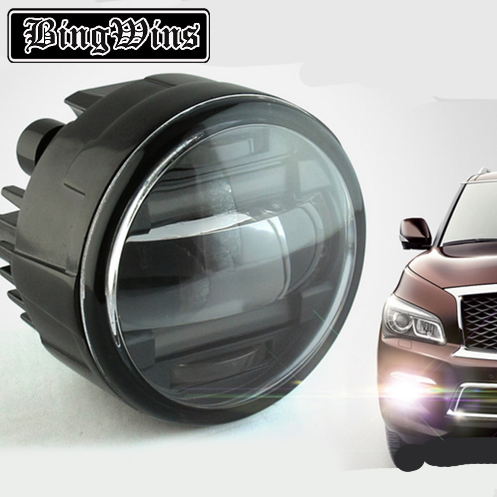Estilo do carro led drl daytime running luz de nevoeiro lâmpada para infiniti qx56 2011-2013 led lente luz de nevoeiro drl acessórios automóveis