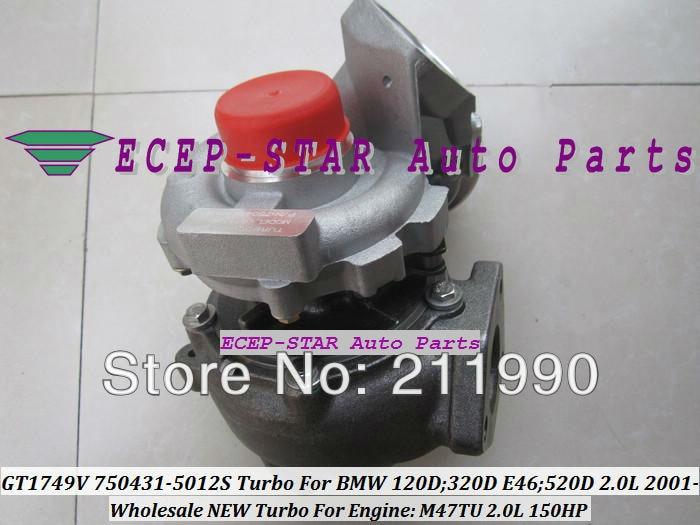 GT1749V 750431-0009 750431 7794144E03   0006G 750431G 7787626G 7787627 Turbo pour BMW 120D 320D E46 520D 01- M47TU 2.0L 150HP
