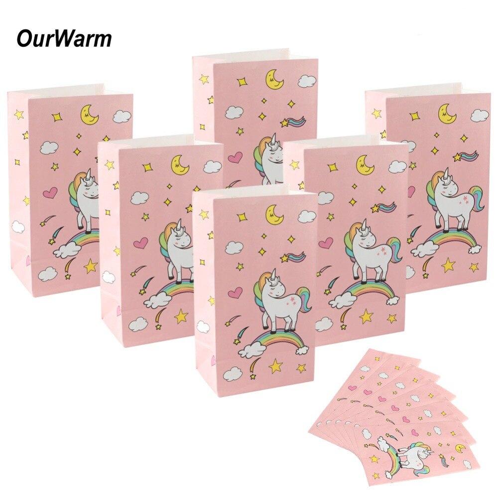 OurWarm 60 uds nueva bolsa de papel de pie de bolsos con unicornio 12x22x8cm a Favor de abrir el mejor regalo de papel de embalaje de tratar bolsa de regalo al por mayor