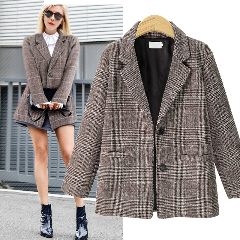 2018 outono inverno moda xadrez blazers feminino único breasted outerwear senhoras blazer feminino