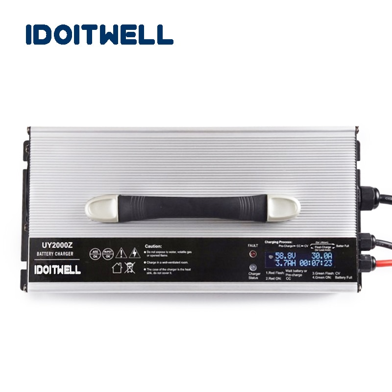 48 v carregador de bateria de lítio 14 s corrente ajustável 30a 20a 15a li ion carregador de bateria para 48 v 40ah 60ah 90ah li-ion bateria