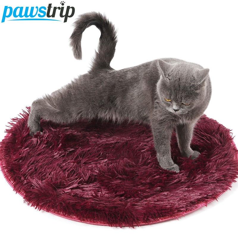 Pawstrip, cama de peluche para perro suave en 4 colores, alfombrilla redonda para cachorros, cojín antideslizante, Gato caliente de fondo, camas de 60/80cm de diámetro