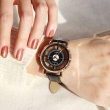 Mode femmes montre de luxe Unique élégant Double creux dame montres élégant décontracté Quartz montre-bracelet cadeau filles horloge noir