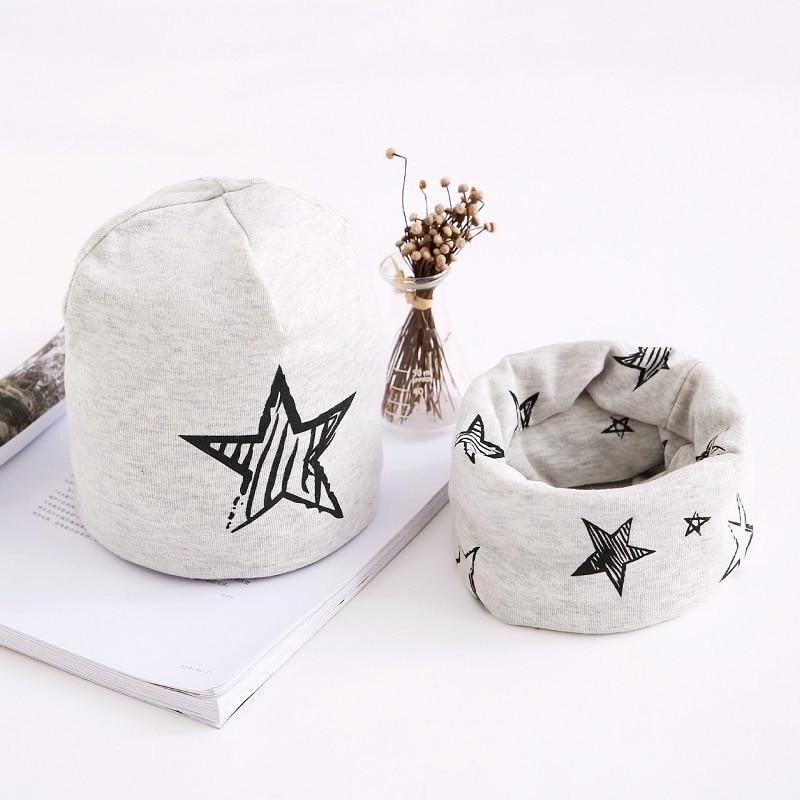 Children Hats Cotton Star Print Baby Hat Cap For Girls Boys Winter Cap Scarf Set Kids Caps 3 months to 8 Years