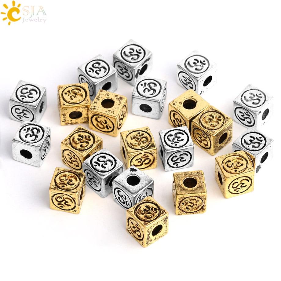 CSJA OM cuentas espaciadoras cuadradas de cubo de Metal para la fabricación de joyas Color plata oro antiguo DIY pulsera pendientes collar hallazgos F502