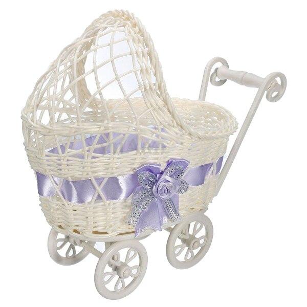 Nuevo cesto de mimbre, cesta de cochecito, florero, organizador de almacenamiento, regalos de fiesta de Baby Shower