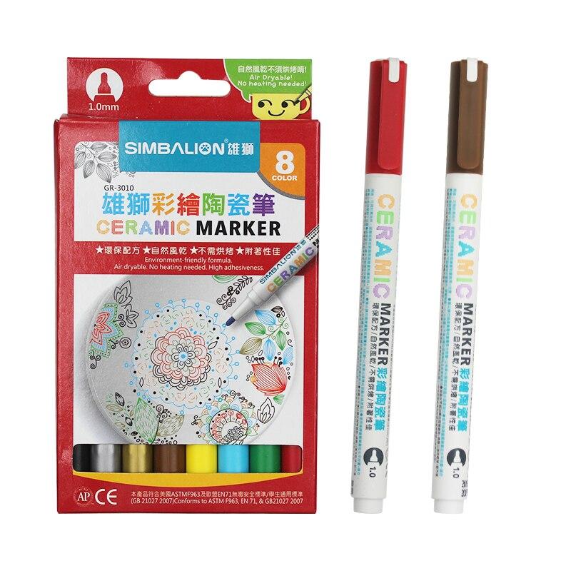 Simbalion 8 cores marcador de cerâmica pintado de cerâmica pigmento caneta marcador criativo diy série cerâmica cor caneta