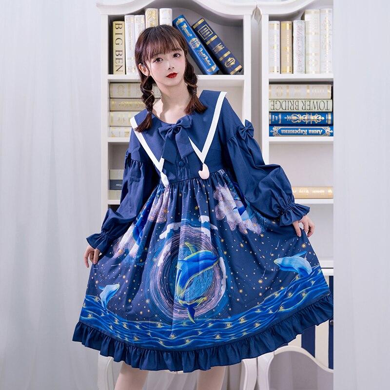 Galaxy Whale ~ vestido de Lolita de manga larga azul con cuello puntiagudo