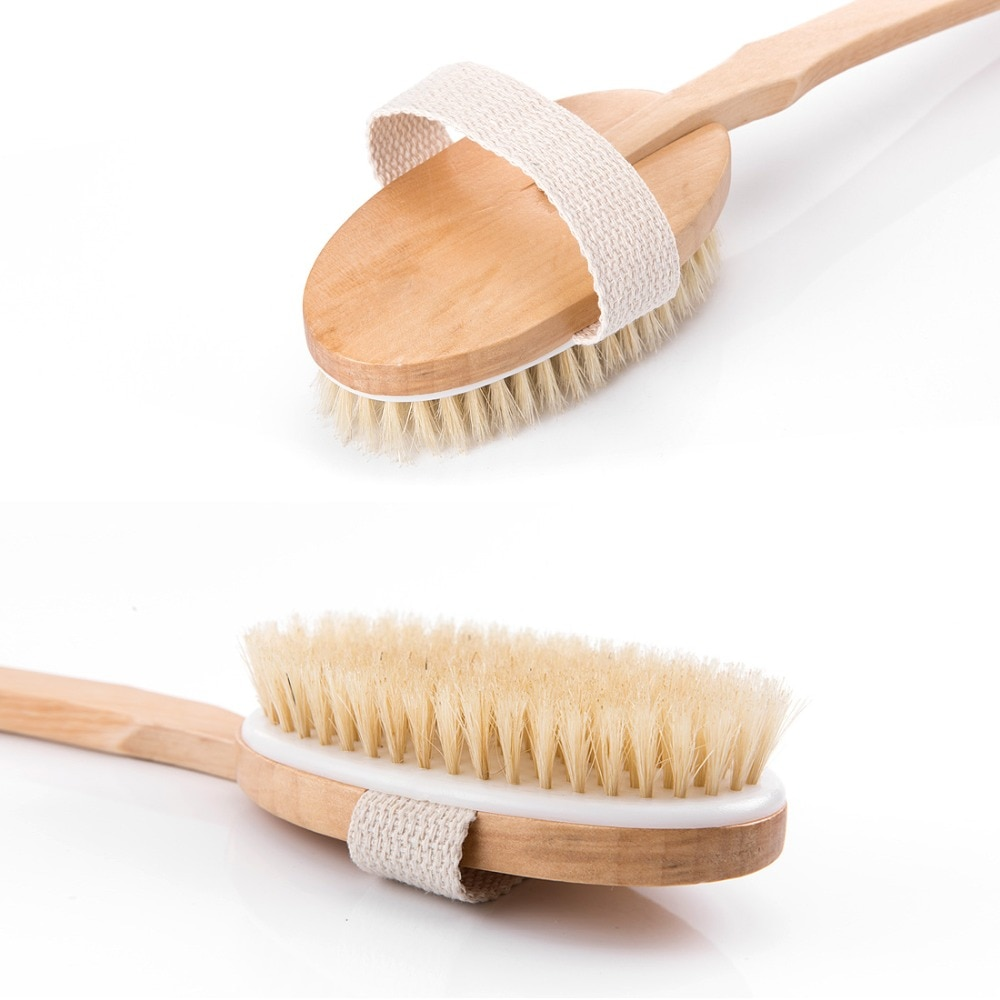 Long Handle Wooden Brush Natural Bristle Body Massager Skin Cleaning Removable Brush Health Shower Bathroom Accessories enlarge