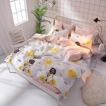 Mejor WENSD limón bicicleta juego de cama real estilo coreano ropa de cama de fibra de bambú de alta calidad de lujo ropa de cama único doble de tamaño completo
