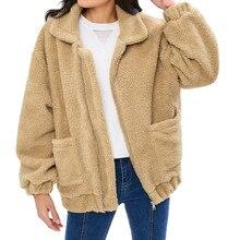 Womens Winter Oversized Coat Ladies Borg Jacket Pockets Warm Coat