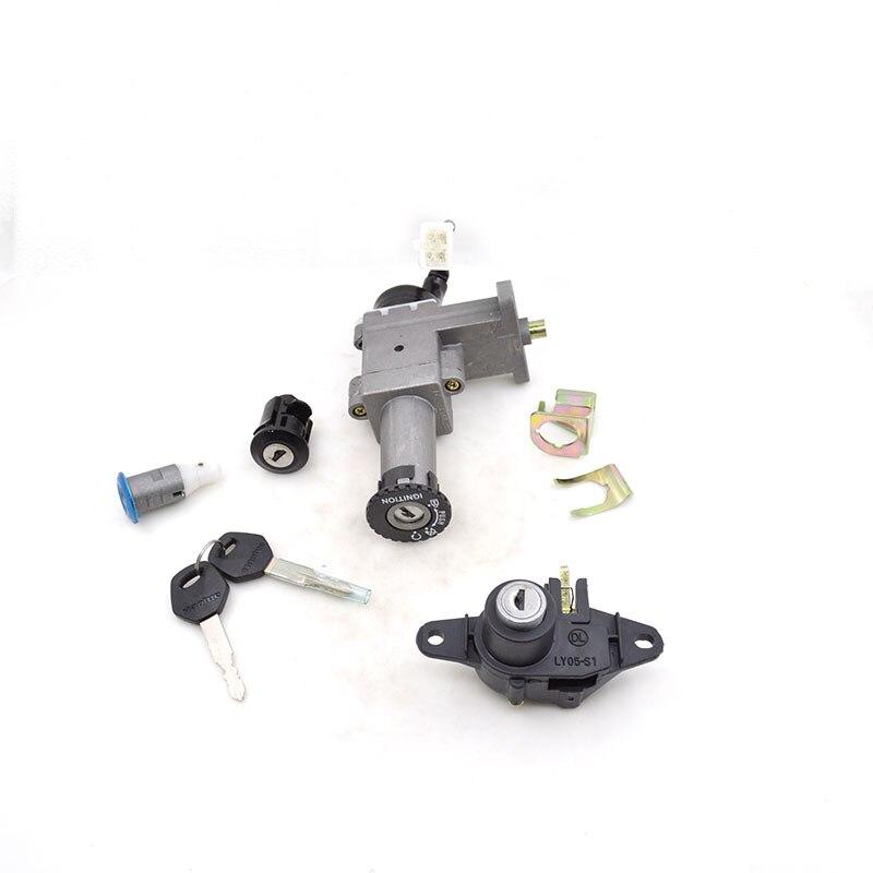 Interruptor de bloqueo de ignición de motocicleta 2088 + Bloqueo de asiento + conjunto de bloqueo de caja de almacenamiento para Haojue Suzuki HJ100T-3 HJ100 HJ 100 100cc piezas de repuesto