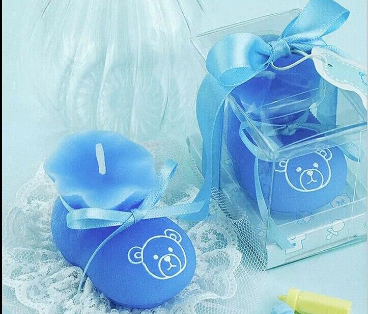 10 Uds calcetines azules vela de zapato boda Baby Shower cumpleaños recuerdos regalos Favor empaquetado con caja