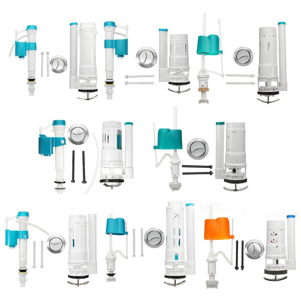 Válvula de botón de inodoro juego doble sifón cisterna sifón entrada inferior para cisterna Reparación de inodoro baño herramienta de tocador 8 tipos