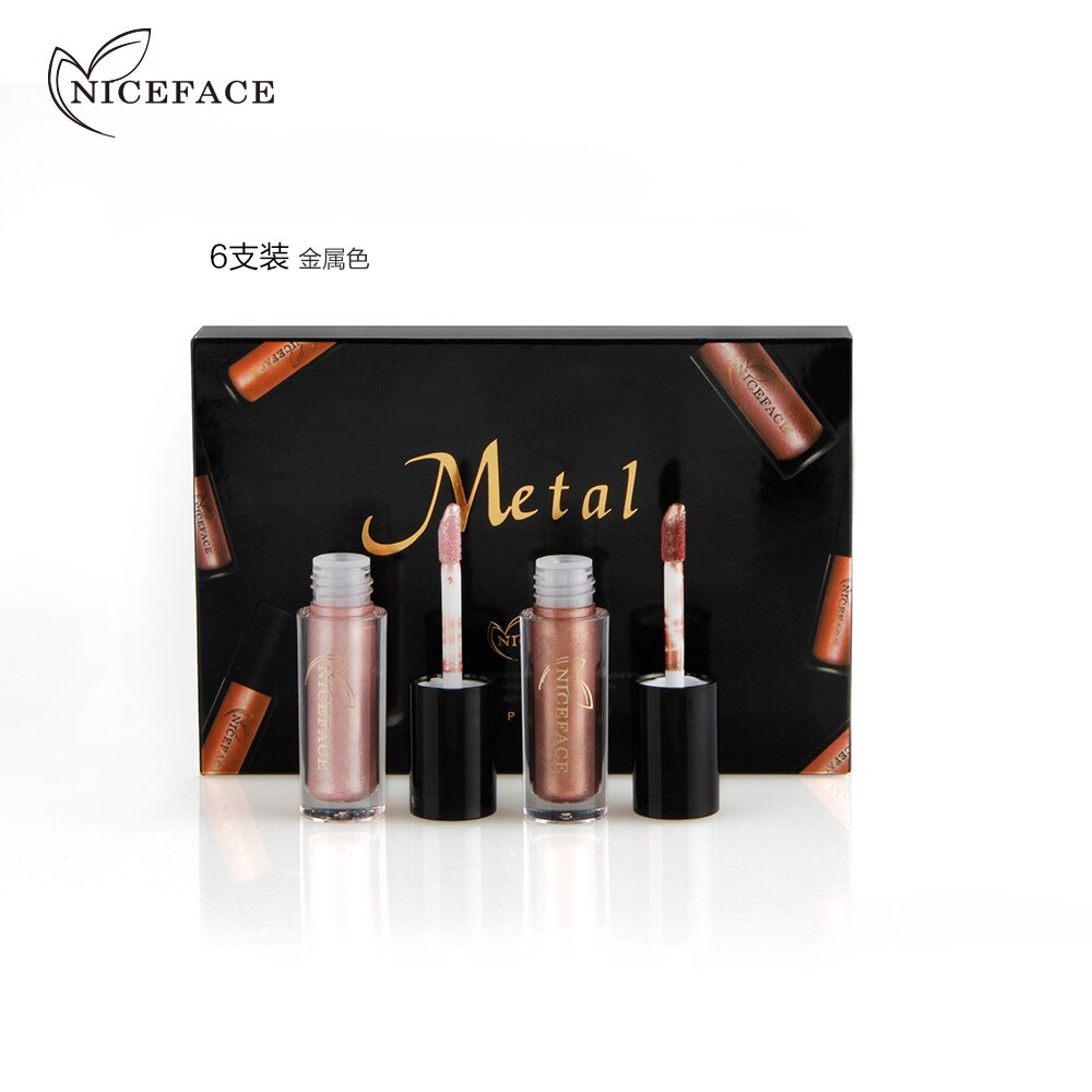 NICEFACE 6 unids/set de brillo de labios de Metal, brillo de labios líquido mate, brillo de labios metálico, pintura de labios impermeable, maquillaje cosmético