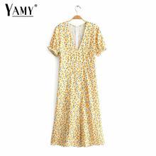 Vintage boho kawaii floral longue robe femmes élégant manches bouffantes sexy col en v robe de soirée sexy robe dété coréenne 2019 vestidos