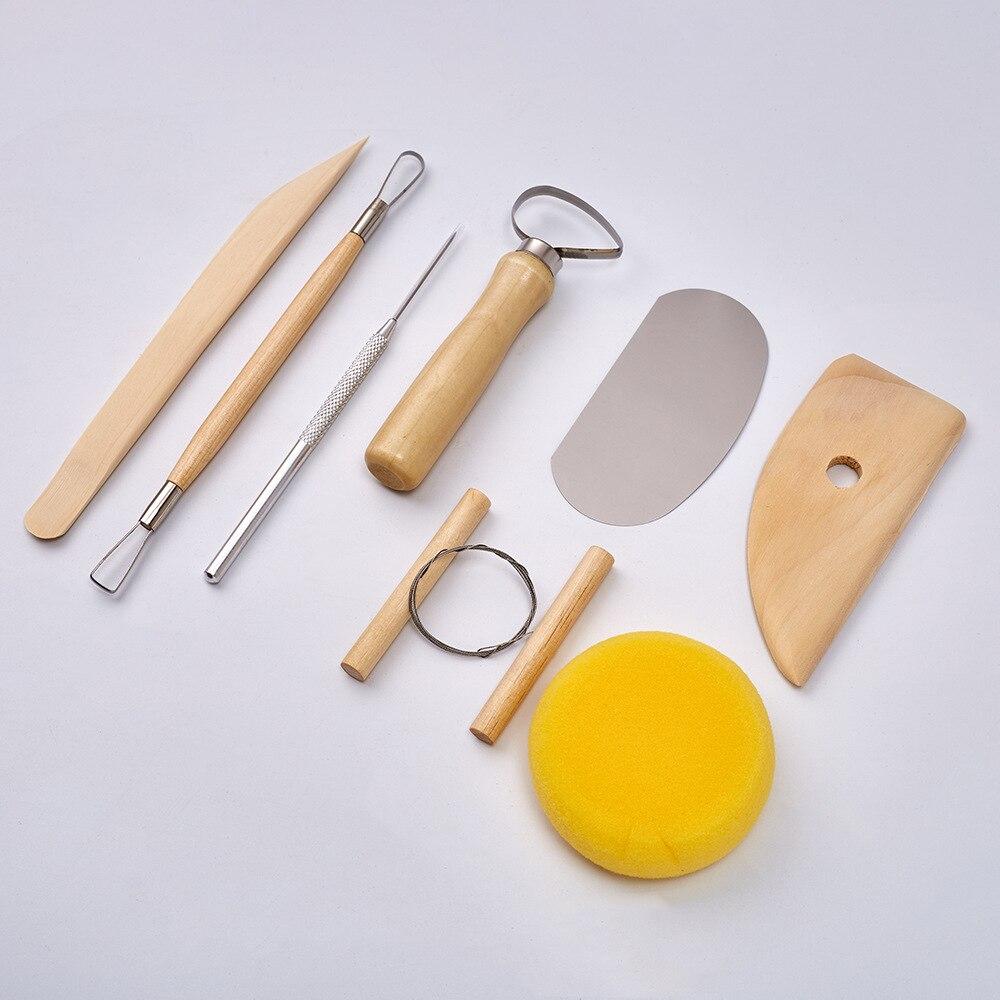 8 adet/takım DIY sanat temel kil çömlek aracı seti el sanatları kil heykel aracı kiti çömlek seramik ahşap saplı modelleme kil araçları
