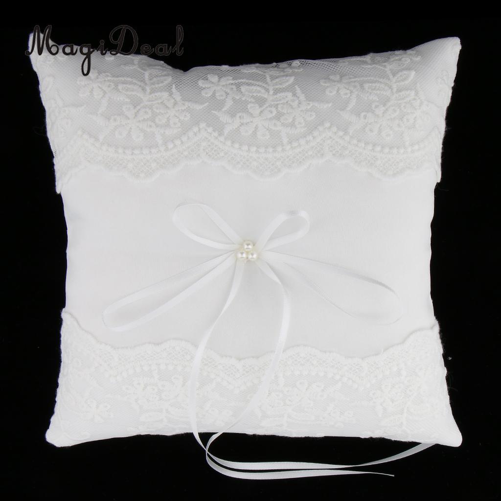 Magideal romântico casamento cerimônia festa pérolas anel de renda travesseiro almofada titular exibição anel portador para paety branco 20x20 cm