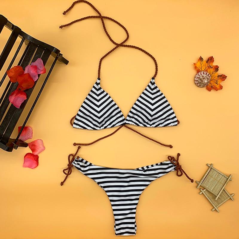 sexy bikini 2019 bikinis set swimsuit swimwear women girl vintage wire free brand low waist fused halter black white stripped