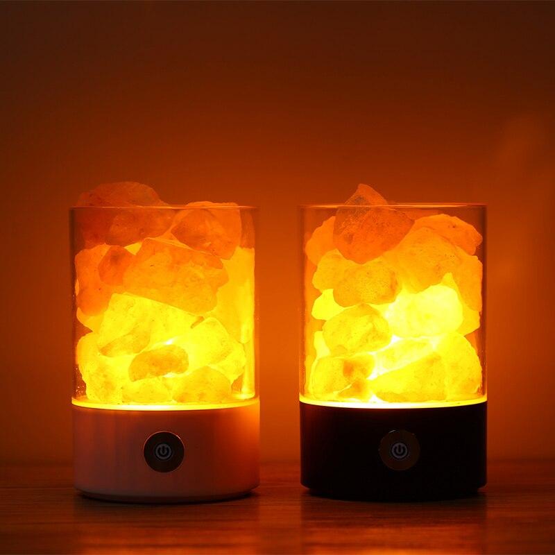 Usb luz da noite de cristal sal do himalaia rocha sal lâmpada led purificador ar luz da noite recarregável lâmpada cabeceira criativa
