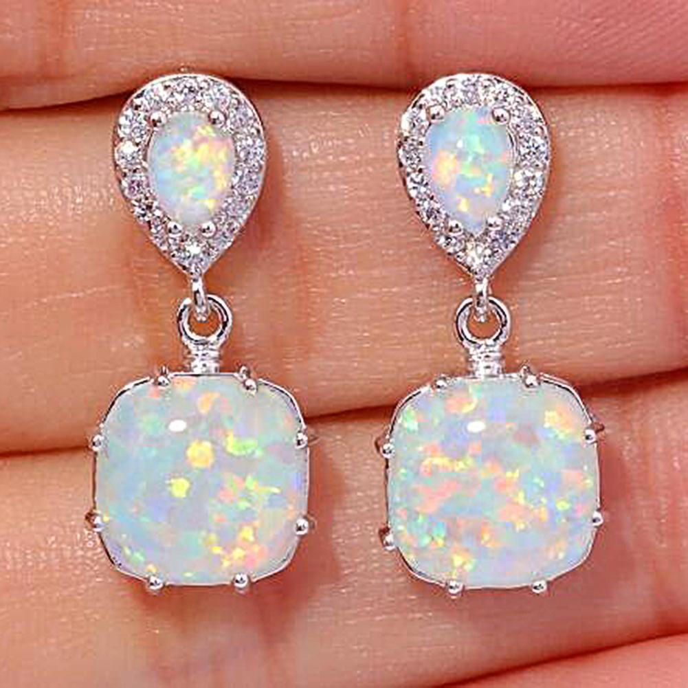 Mulheres fogo opala incrustada pingente orelha brincos de parafuso prisioneiro festa jóias acessório pingente brincos festa jóias accessorie presente