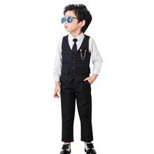 Costume bébé garçon   Ensemble de smoking pour garçons, ensemble costume de mariage pour hommes, tenue formelle pour enfants garçons (gilet + chemise + pantalon), 2019