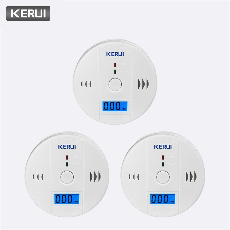KERUI 3 шт. LCD CO датчик газа детекторы окиси углерода индендендент работа окись углерода сигнализация для домашней безопасности огонь