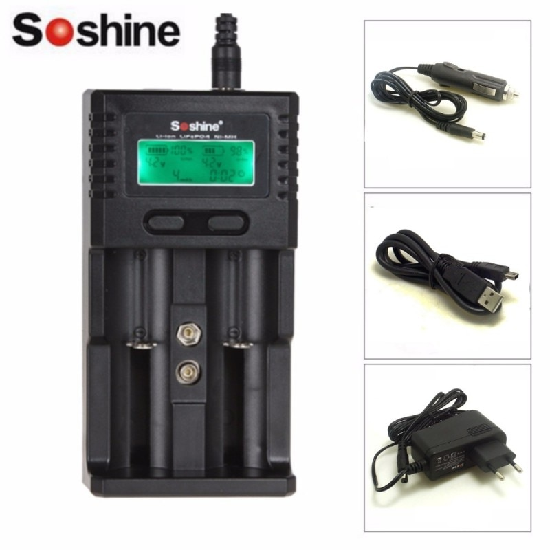 Умное зарядное устройство Soshine H2 с ЖК-дисплеем, универсальное зарядное устройство для Li-ion/LiFePO4 26650 18650 NiMH C AA AAA