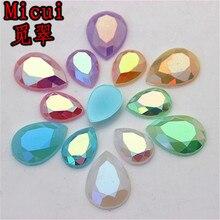 Micui, 100 Uds., 10x14mm, 13x18mm, mezcla de Color ópalo AB, diamantes de imitación de cristal, parte trasera plana, pegamento en diamantes de imitación, cristales de acrílico, ZZ1/2