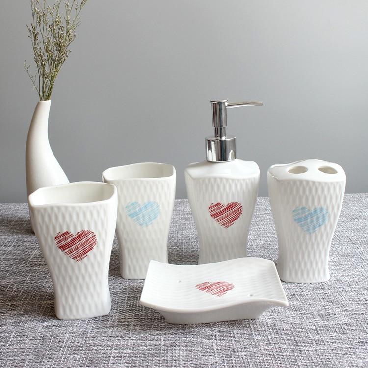 Houmaid Titular Sabão Titular Banheiro Escova de Dentes Escova de Dente-escovar Cups Cerâmica Conjunto Porcelana Sala de banho com Duche Líquido Dispensadores de Sabão
