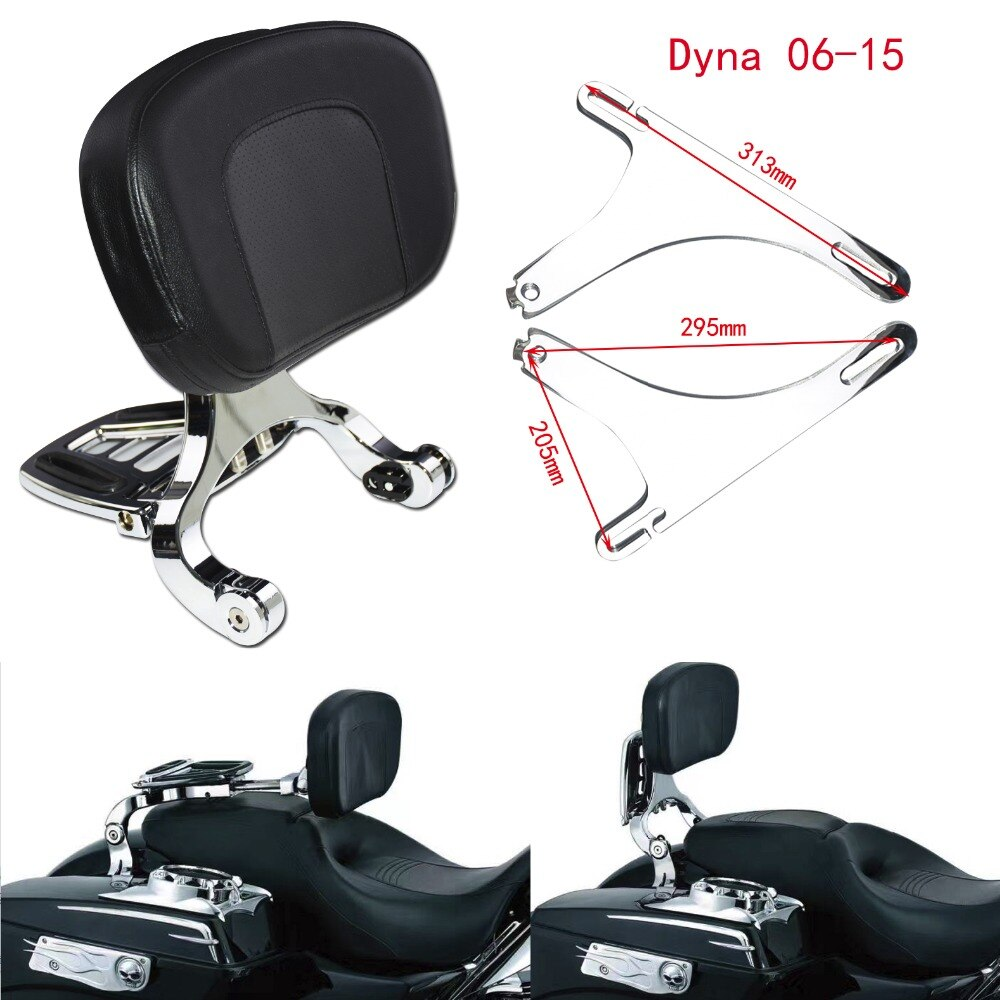 Asiento de pasajero y respaldo para conductor cromado Sissy bar y negro para Harley Softail Breakout 13-17 FLSTC 00-17 Touring 09-17