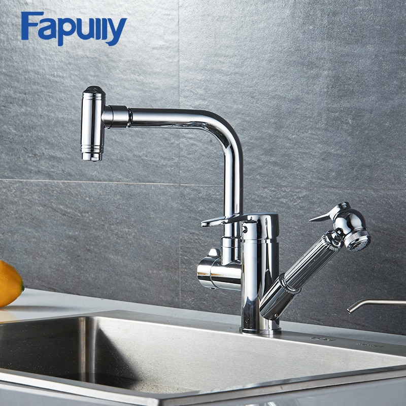Fapully kitchen mixer pull out faucet brass doudle handle faucets two spout sink 511-33C
