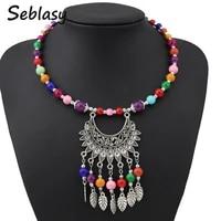 seblasy maxi boho big statement natural stone beads moon leaves flowers tassel necklaces pendants for women tribal jewelry colar