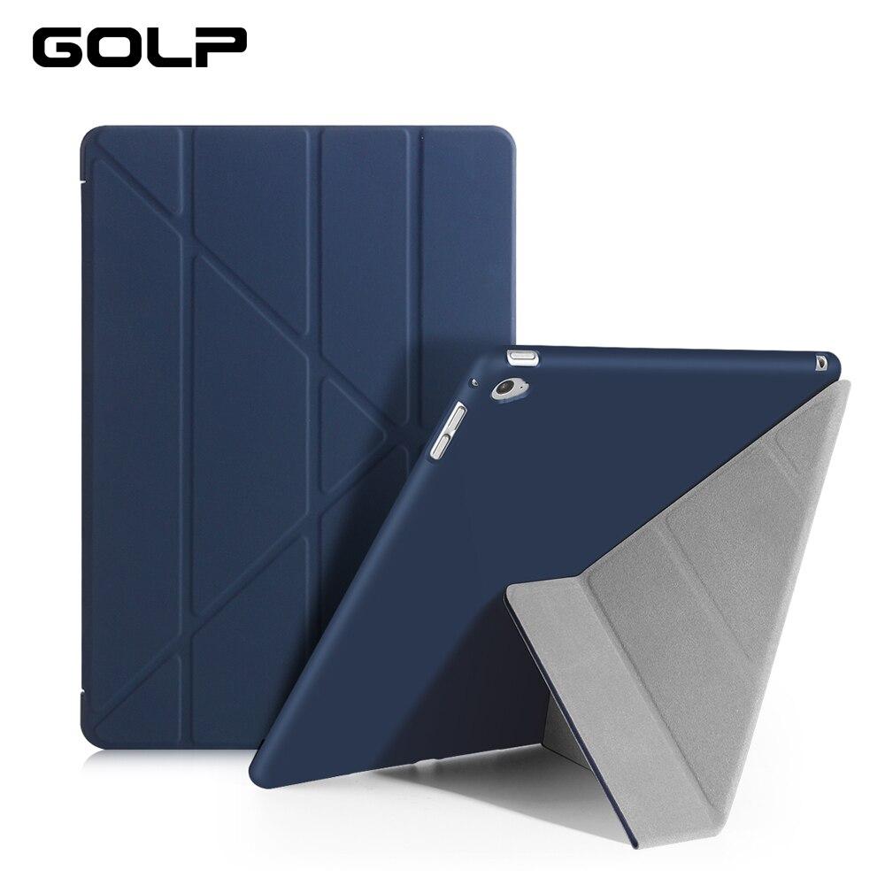 Funda para ipad Air 2, Funda de cuero PU ultradelgada GOLP para ipad Air 2 Air 1 con funda trasera transparente de PC para ipad 6 con soporte abatible