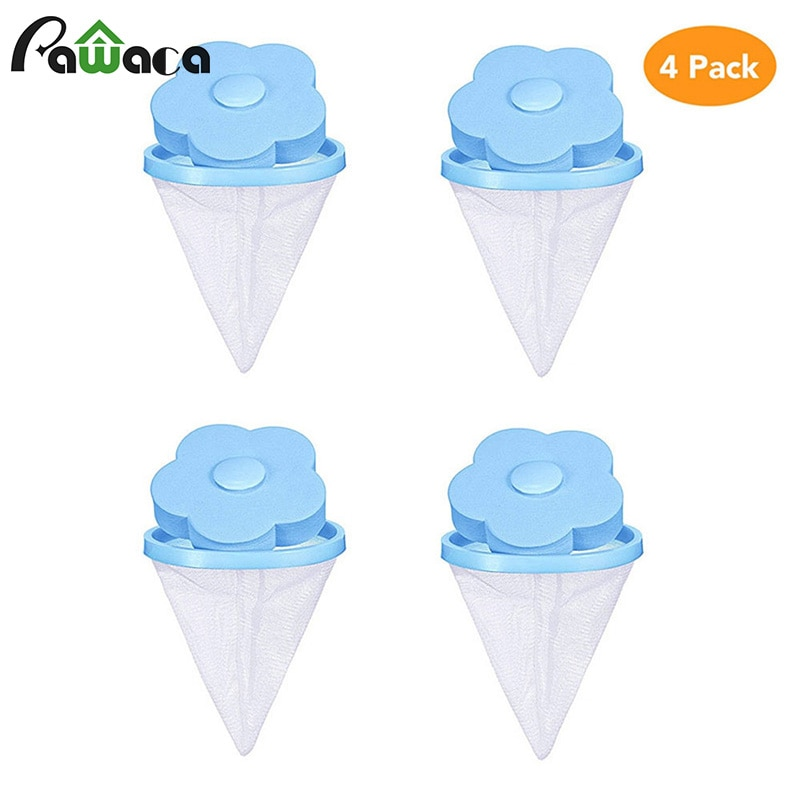 4pcs/set Floating Pet Fur Catcher Lint Filter Bag Reusable Pet Hair Catcher Remover Tool for Washing